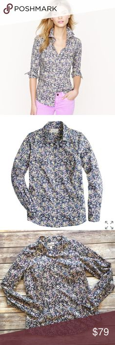 J.Crew Liberty Perfect Button Down Shirt J Crew Perfect Shirt in Liberty Art Fabrics Wiltshire 100% cotton floral print in shades of black, blue, lavender, ivory, green. Long sleeves. Very good condition. A classic four season blouse, pairing easily with jeans casual to office professional. Approximate measurements: Armpit to armpit: 19 inches  Center back length: 27 inches J. Crew Tops Button Down Shirts