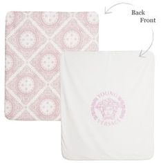 Young Versace - Padded Pink & Ivory Maioliche Baby Blanket (75cm) | Childrensalon
