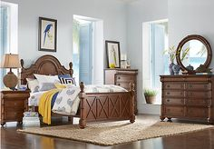 picture of Cindy Crawford Home Key West Tobacco Panel 5 Pc Queen Bedroom from Queen Bedroom Sets Furniture