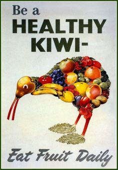 who doesn't remember being in the chair under harsh lights with a mouth full of cotton wool, gazing up at one of these beauties like the surreal Kiwi made of fruit? Love the creative use made of that Kiwi backyard staple, the rhubarb!