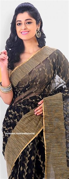 Jute net handloom saree from indiansilkhouse.com