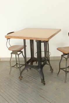 Dorset Finds Store — Heavy Duty Industrial Counter/ Bar-Height Dining Table w/ Cast Iron Leg Base.