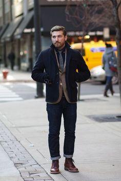 dressing down // blazer, tie, boots and denim