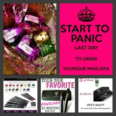 Www.youniqueproducts.com/bybee  Today 5/13/15 is the last day of my Virtual Younique Party. Order ANY item TODAY and receive a free sample bag.