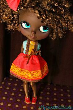 Etta, Brown hermoso Blythe Custom arte de la muñeca