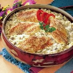 One Dish Chicken and Rice Bake  Use broth instead of water, add a TBS Worcestershire to broth and sprinkle a tsp each of Paprika, Garlic Salt and Seasoned Salt over the chicken