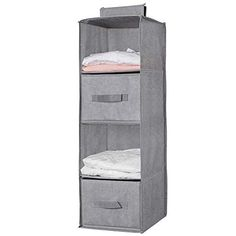 Aoolife 4 Shelves Hanging Closet Organizer with 2 Drawer, Cotton Fabric Foldable Closet Hanging Shelves for Clothes Storage