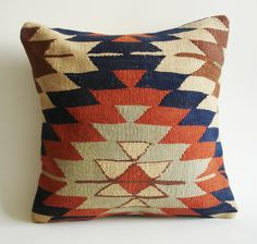 Sukan / Handwoven Vintage Turkish Kilim Pillow Cover, Decorative Pillows, Accent Pillow, Throw Pillow,  16x16 inch Navy Blue, Cream. $169.95, via Etsy.