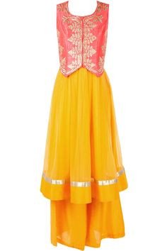 Yellow kurta set with pink waistcoat available only at Pernia's Pop-Up Shop.