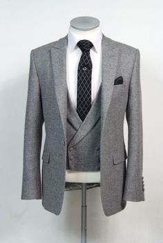 Grey English tweed suit made to measure