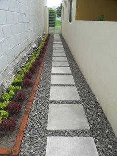 backyard designs – Gardening Ideas, Tips & Techniques Backyard Walkway, Stone Landscaping, Backyard Patio Designs, Small Backyard Landscaping, Modern Backyard, House Landscape, Landscape Design, Side Garden, Gardening