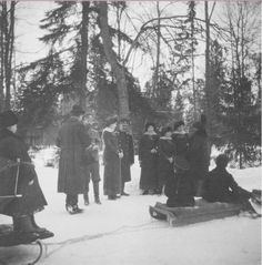 """Tsar Nicholas ll of Russia with his children and nephews at Tsarskoe Selo Park in 1916. """"AL"""""""