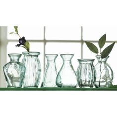 Recycled Green Glass Vases, Set of 6 = Perfect for a windowsill