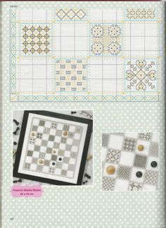 Blackwork Chess 5 of 6 Blackwork Embroidery, Cross Stitch Embroidery, Embroidery Patterns, Cross Stitch Games, Sewing Art, Needlepoint, Projects To Try, Quilts, Black Work