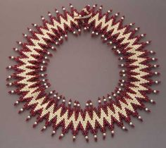 Zig Zag II in silver and red Peyote Stitch Patterns, Bead Loom Patterns, Beading Patterns, Beaded Jewelry, Beaded Necklace, Beaded Bracelets, Necklaces, Beaded Collar, Collar Necklace
