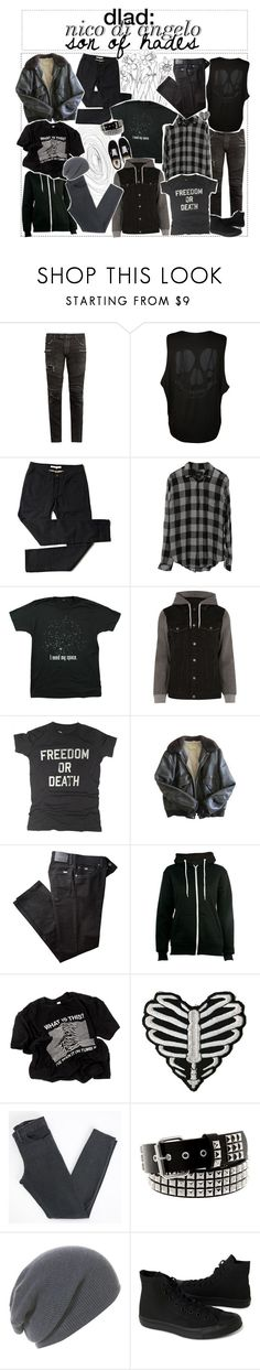 """""""dress like a demigod: nico di angelo ;; thalia grace"""" by the-elite-fangirls ❤ liked on Polyvore featuring Balmain, WearAll, Rails, Humör, Vans, River Island, Worn Free, Schott NYC, BRAX and Hot Topic"""