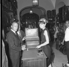 Audrey Hepburn, Gucci Rome store, 1960s - In honor of one of the world's most glamorous red carpets, Gucci looks back at some of their most glamorous clients.
