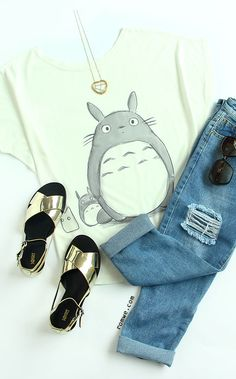 Cartoon Print Bat Sleeve T-shirt Cool Outfits 8110a59233b6