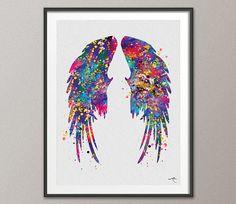 Wings Watercolor Angel Wings Print Feathers Art Print  Boho