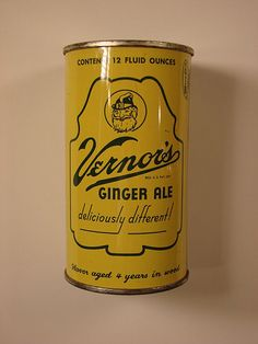 Old Vernor's Ginger Ale can. Vernors is a ginger flavored soft drink and the oldest surviving ginger ale brand in the United States. It was created in 1866 by James Vernor, a Detroit pharmacist.
