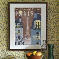 Paris Eiffel Tower Casablanca Art Deco Poster Print A3 A2 A1 Vintage Retro City French 1940's Vogue Cityscape Travel Holiday Romantic Bahaus