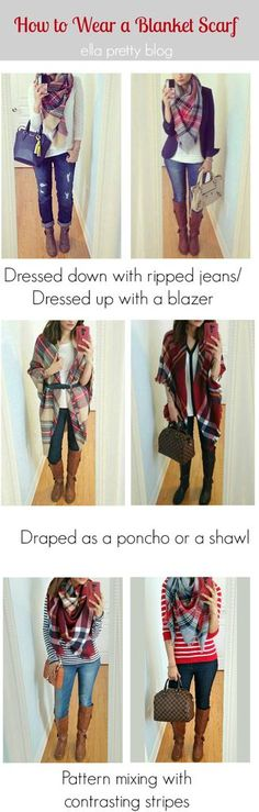 Take a look at 15 cute plaid blanket scarf outfits for fall in the photos below and get ideas for your own amazing outfits! how to wear a blanket scarf How To Wear A Blanket Scarf, Plaid Blanket Scarf, How To Wear Scarves, Tie Scarves, Wearing Blanket Scarf, Ways To Wear A Scarf, Fall Scarves, Looks Chic, Looks Style