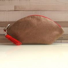 Leather zipper pouch / leather bag organizer / leather by rinarts
