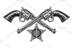 Buy Pistols with Sheriff Star Badge by Krisdog on GraphicRiver. A pair of crossed pistol hand guns and sheriff star badge in a vintage etched engraved style Bear Tattoos, Arrow Tattoos, Gun Tattoos, Ankle Tattoos, Ankle Tattoo Small, Small Tattoos, White Tattoos, Tiny Tattoo, American Style Tattoo
