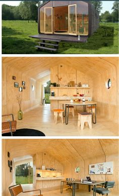 A special little house, made out of cardboard. Wikkelhouse, a house for you. Mobile Architecture, Sustainable Architecture, Modern Architecture, Prefabricated Houses, Prefab Homes, Tiny Homes, Small Space Living, Tiny Living, Tiny House Storage