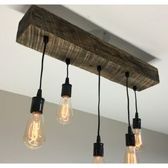 Reclaimed Barn Timber Beam Light fixture/bar/restaurant Home 24 5... ($290) ❤ liked on Polyvore featuring home, lighting, ceiling lights, grey, home & living, mounted lights, island light, wooden bar, hanging chain lamp and gray lamp