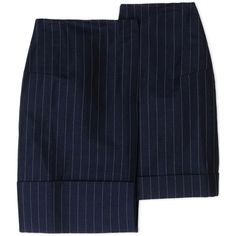 Jacquemus Knee Length Skirt (315 AUD) ❤ liked on Polyvore featuring skirts, dark blue, dark blue skirt, blue stripe skirt, knee length skirts, blue knee length skirt and stripe skirt