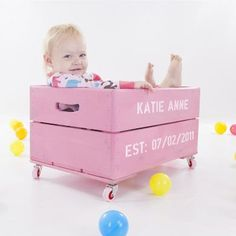 Personalised Kids Toy Box Storage Wooden Crate