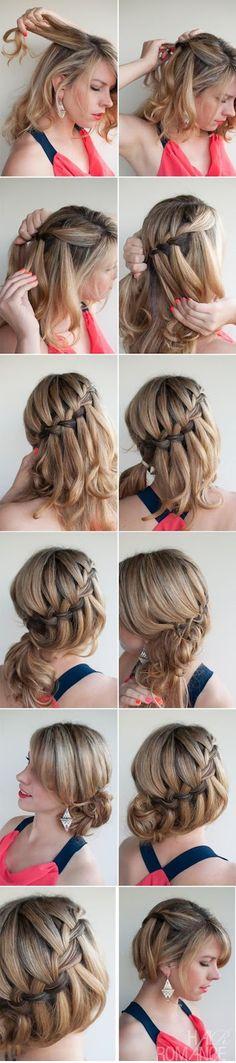 DIY Waterfall Braided Bun Hairstyle 12 Tutorials de peinados para todos los dias