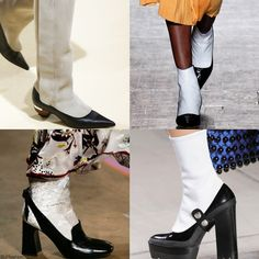 Trendy Boots for FW 2016: (Black shoes paired with white socks) illusion Boots.  Marni, Vivienne Westwood Red Label, Erdem, and Mulberry Fall Winter 2016.