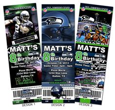 Seattle Seahawks NFL Custom Party Ticket Invitations on Etsy, for Addie's first birthday?