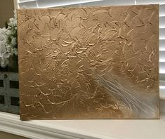 Original, abstract, textured painting / abstract painting / abstract landscape / contemporary abstract painting Size: 16 x 20 inch canvas Colors: Metallic, gold, silver Medium: Acrylic Finish: Two layers of varnish have been applied. Check out my full gallery at: