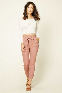 Forever 21 Contemporary - A pair of woven pants featuring an elasticized slightly ruffled self-tie waist and front zippered patch pockets.