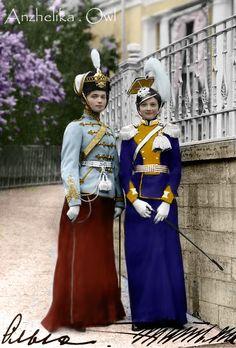 Grand Duchess Olga and Grand Duchess Tatiana of Russia in their Regiment uniforms.