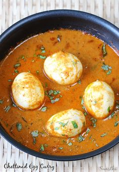 Chettinad egg curry recipe with step by step pictures. South Indian style egg curry made with fresh home ground masala. Served with rice or chapthi.