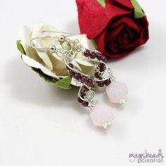 Swirl Garnet Earring Wirewrap Earrings by magsbeadscreation
