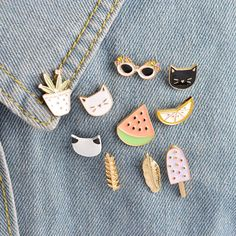 Apparel Sewing & Fabric 1pc Cartoon White Cat Fishbone Metal Badge Brooch Button Pins Denim Jacket Pin Jewelry Decoration Badge For Clothes Lapel Pins Promoting Health And Curing Diseases Badges