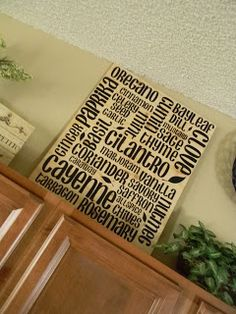 Above cabinet decorations that will look so cute when done. Use canvas it will looks sharp!