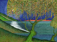 Indigo Glow Artist: Lawrie Dignan Pen and Ink Pointillism stylized landscape 11 X 15 Open Edition Lithograph Artist Description: I was Empty Canvas, Crayon Art, Canadian Artists, Dot Painting, My Images, Painted Rocks, Cool Art, Things To Come, Art Prints
