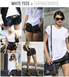 FRANKIE HEARTS FASHION: White Tees + Leather Shorts