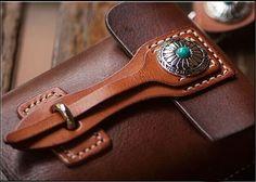 Vintage Handmade Waist Pack Buckles Bag Tanned Leather Biker Bag