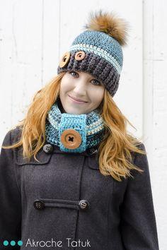 Crochet hat and cowl pattern  Patron tuque et cache-cou au crochet en français