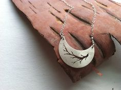 Sterling Silver Crescent Necklace. Hand cut  Branch silhouette  Moon via Etsy