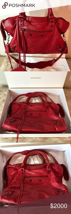 1769b78ff4 Authentic Balenciaga Red Rouge Leather City Bag Like NEW