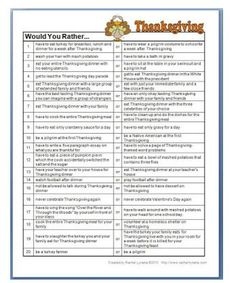 Thanksgiving 'Would You Rather' Questions - pinned by @PediaStaff – Please Visit ht.ly/63sNtfor all our pediatric therapy pins