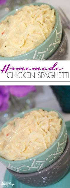 Homemade Chicken Spaghetti! One of my favorite Dinner Recipes that makes the Perfect Freezer Meal Recipe!